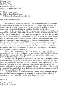 Hugh Foley Letter Support