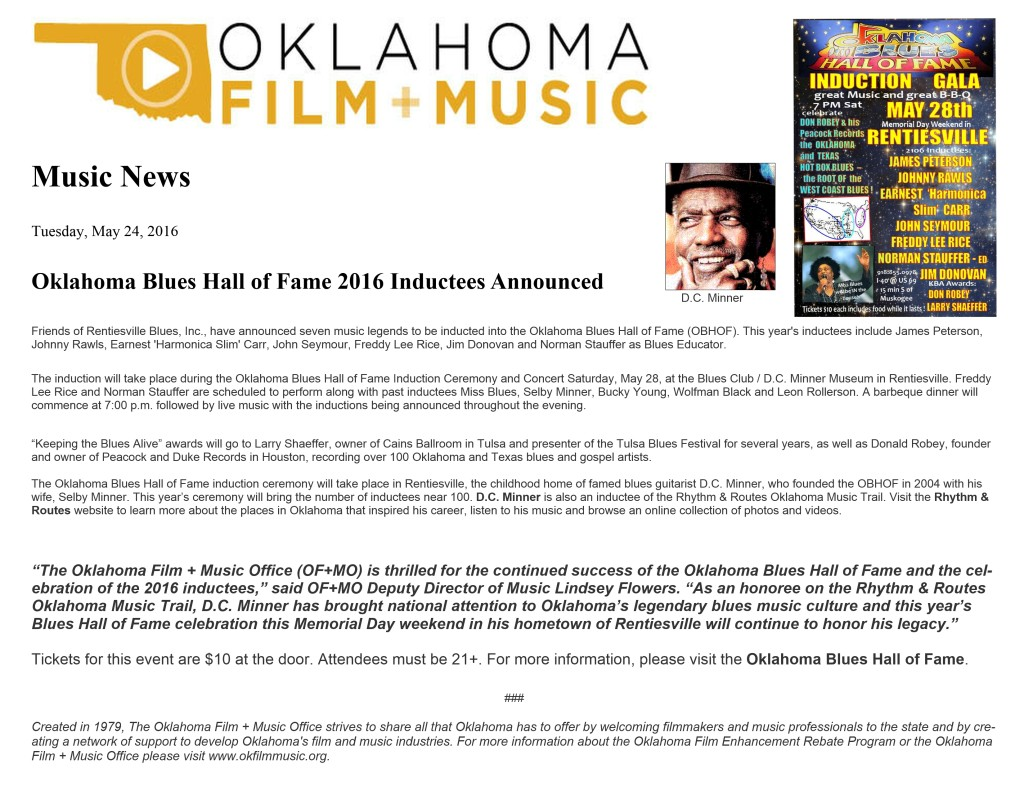 OK FILM + MUSIC Press Release OBHOF Inductions May 2016