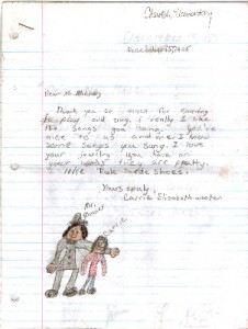 carries letter and drawing of her and DC